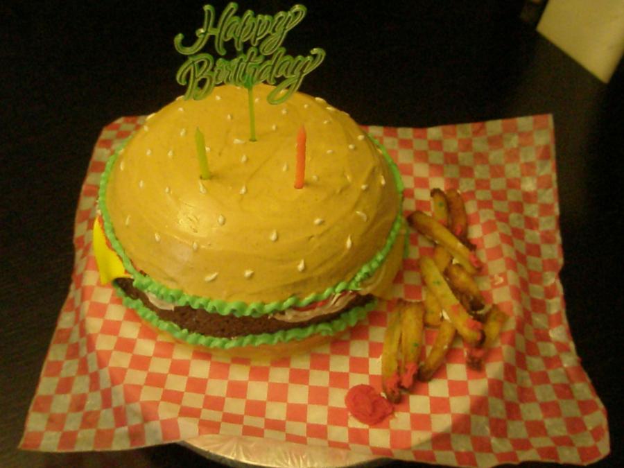 Prime Hamburger Birthday Cake Funny Birthday Cards Online Inifodamsfinfo